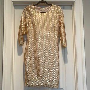 Just me gold sequins dress size L never worn